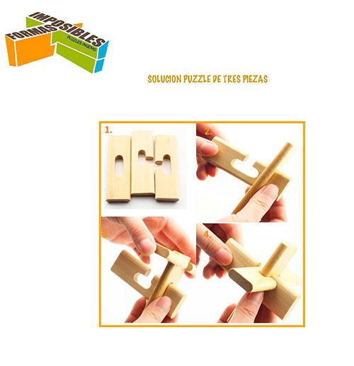 Solución Puzzles de madera de tres piezas